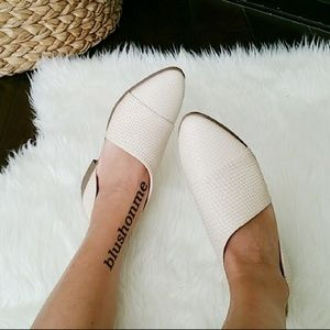 Shoes - Beige Snake Skin Side Cut Flats